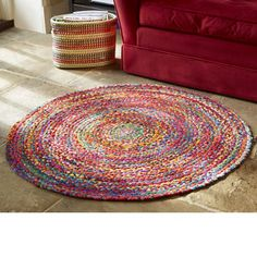 Colourful 'Upcycled' Fabric Rug - home