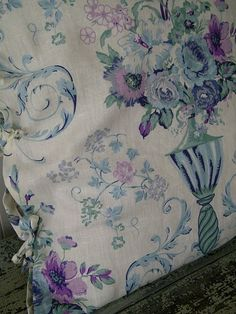 gorgeous linen fabric in purple and aqua