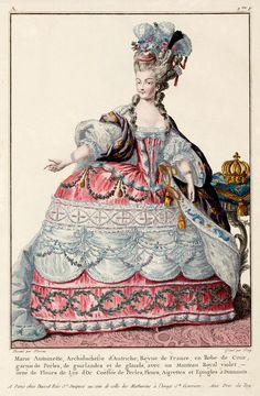 c. 1774 French Fashion Plate of the Queen of France,  Marie Antoinette in Robe de Cour (Court Dress)