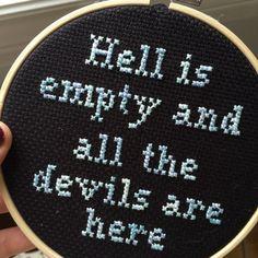 Shakespeare  Cross Stitch  Hoop Art by WillStitchForCoffee on Etsy