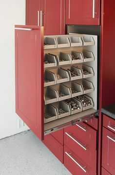 Great idea! Slide out Drawer in garage - compartmentalized for screws, nuts, bolts. Garage storage idea? Let us be a resource. garagesmart.com.au/