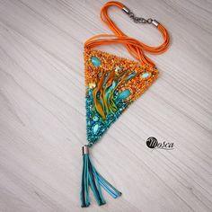 Viridiana - bead embroidered necklace with shibori silk ribbon