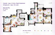Sketch of the #Manhattan #apartment building on Friends #interior #design