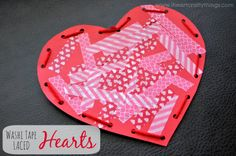Washi Tape Hearts with Lacing Practice from I Heart Crafty Things. Simple Valentine's Craft for kids.