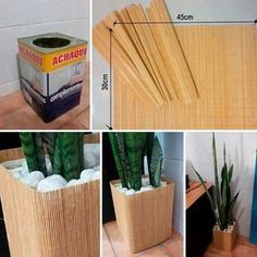 wrap a bamboo placemat around a container to make a pretty cachepot for houseplant