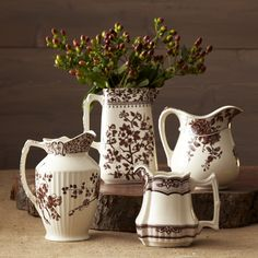 Two's Company Brown Transferware Pitchers