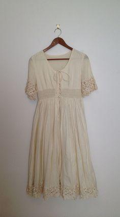 Vintage Beautiful unbleached Beige white cotton Dress by polomocha, $40.00