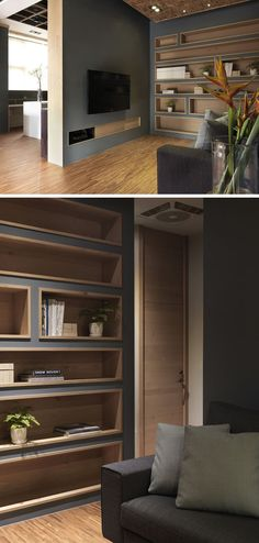 To make the built-in bookshelves on this deep grey wall stand out, the shelves were lined with wood to add a natural touch and create warmth in the office interior.