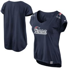 Nike New England Patriots Womens Fashion Jersey V-Neck Top – Navy Blue