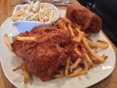 Loyal Hound Fish n Chips Santa Fe Restaurants, Tap Room, Gourmet Recipes, Deserts, Pork, Chips, Fish, Chicken, Dining