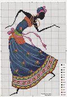 Blue Dress African Woman Dancing Cross Stitch Cross Stitch / Cross stitch: People 1/1
