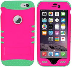 """myLife Stylish Design and Layered Protection Case for iPhone 6 Plus Inch) by Apple {Tangerine Orange + Black """"Modern Rugged Hybrid with Kickstand"""" Three Piece SECURE-Fit Rubberized Gel} Iphone 6 Plus Case, Iphone Cases, Vintage Phones, Apple Roses, Pink Brown, Teal, Orange Brown, Pink Black, Magenta"""