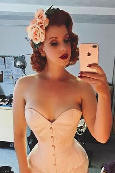 A sneaky selfie from when Miss Victory Violet dropped in to see us! She's wearing our new Overbust Corset in Peach Satin, which we think would make beautiful wedding night lingerie! Team with Splendette jewellery and Shazam Vintage Hairflowers to complete the look. If you'd like to get fitted for a corset, drop in and see us or send us a message!
