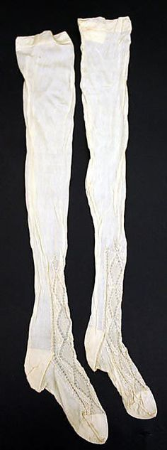 Silk and cotton wedding lingerie, American, c. 1880. Embroidered silk stockings.