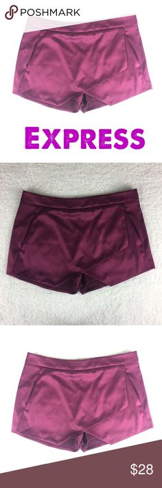 af591647c2c0e7 Express Burgundy Satin Wrap Shorts Size 8 Excellent used condition Burgundy  satin shorts Size 8 2