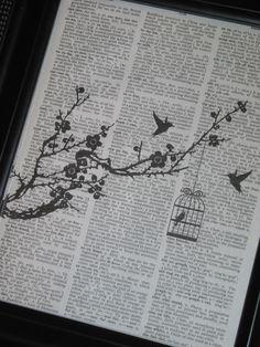 Bird Print Bird Art Silhouette Bird Bird Branch Vintage Dictionary Wall Art Print Black Bird Cage Image Upcycle. $8.00, via Etsy.