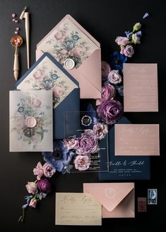 Navy and pink vintage wedding invitations 01/ACGN/z