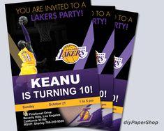 Los Angeles Lakers Invitation, Birthday Invitations, Lakers Party Invitation, Printable Kobe Invite, Kobe birthday, Showtime, AD, LBJ Invitation Birthday, Diy Invitations, Beatles Birthday, You Are Invited, Los Angeles Lakers, Kobe, Rsvp, Free Printables, Handmade Gifts