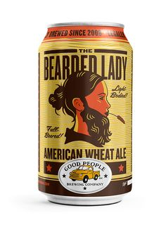 Good People Bearded Lady American Wheat Ale Beer - fl oz Cans Beverage Packaging, Bottle Packaging, Brand Packaging, Design Packaging, Coffee Packaging, Food Packaging, Branding Design, Craft Beer Labels, Wine Labels