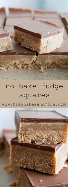 No-bake fudge squares. Not fudge in the traditional sense, but tasty and very easy to make Tray Bake Recipes, Brownie Recipes, Chocolate Recipes, Baking Recipes, Cookie Recipes, Dessert Recipes, Brownie Cheesecake, Candy Recipes, Baking Ideas
