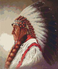 Cross Stitch Patterns - Western/Native American - Indian Chief - Native American Cross Stitch Pattern