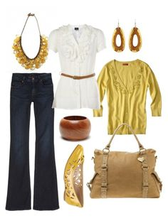 """casual friday"" by htotheb ❤ liked on Polyvore featuring Genetic Denim, Merona, Amrita Singh, Holy Harlot, Marc B, Calvin Klein, yellow, white, wood and brown"