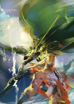 Thor & Loki // artwork by Iammovan - Gaea Studios (2011)