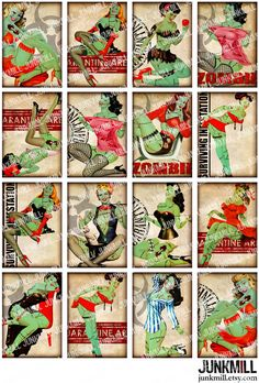 ZoMBIE PINUPS  Collage Sheet  Retro Undead PinUp Girls by JUNKMILL, $4.50