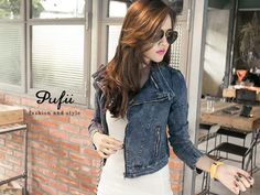Cropped Denim Bike Jacket, Blue , One Size - PUFII | YESSTYLE| 20% off this brand only this week!
