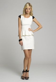 Homecoming Dresses - Short Peplum White Short Dress with Sequinned Cap Sleeves from Camille La Vie and Group USA