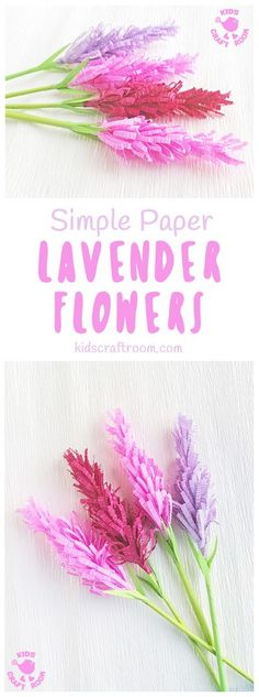 Have you tried making paper flowers? These gorgeous Lavender Flowers look so realistic and are surprisingly simple to make! They're perfect for Mother's Day, to stick to greeting cards or gifts and even for imaginative play! (We like to squirt them with perfume for little gardeners and florists to play with. So fun!) #kidscraftroom #mothersday #papercrafts #flowercrafts #kidscrafts #springcrafts #summercrafts BC Spring Crafts For Kids, Paper Crafts For Kids, Easy Crafts For Kids, Craft Activities For Kids, Summer Crafts, Diy Paper, Diy For Kids, Toddler Activities, Craft Ideas