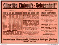 Original-Werbung/Inserat/ Anzeige 1928 - VERSANDHAUS SCHWARZWALD / FREIBURG / AYS & CO. - ca. 180 X 140 mm