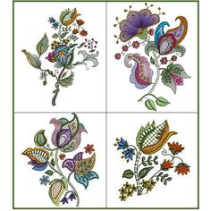 """Rainbow Jacobean"" Arrange and rearrange these lovely Jacobean inspired designs on garments, linens, decor, quilts and more and make a bold statement with old fashioned charm! Hand Embroidery Projects, Hand Embroidery Stitches, Machine Embroidery Designs, Embroidery Patterns, Jacobean Embroidery, Custom Embroidery, Embroidery Services, Floral Illustrations, Applique Quilts"
