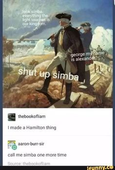 Now I want to know who the monkey would be.(Mulligans and Lafayette can be Timon and Pumba) lol Now I want to know who the monkey would be.(Mulligans and Lafayette can be Timon and Pumba) lol Hamilton Musical, Alexander Hamilton, Fandoms, Theatre Nerds, Theater, Musical Theatre, Broadway Theatre, Hamilton Lin Manuel Miranda, Hamilton Fanart