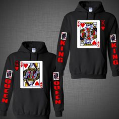 Valentine's Day King of hearts Queen couple shirts matching Hoodie Black White  #Gildan