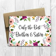 PRINTED CUSTOM Only the Best Brothers and Sisters Get Promoted to Aunt & Uncle Pregnancy Announcement 5x7 Card - Watercolor Flowers by DesignsLM on Etsy