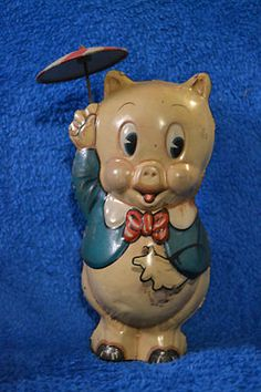 Vintage Porky Pig Wind Up Tin Toy ~ 1939