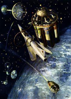 Н. Кольчицкий, 1955 год «Заправка межпланетного корабля на спутнике» (Гильзин К. Путешествие к далёким мирам