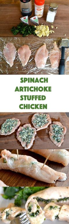 Spinach Artichoke Stuffed Chicken - an easy weeknight dinner that takes only a few ingredients and 30 minutes to make!