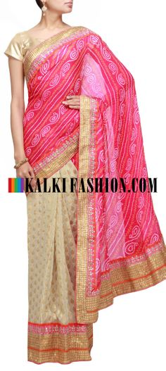 Buy Online from the link below. We ship worldwide (Free Shipping over US$100) http://www.kalkifashion.com/half-and-half-bandhani-saree-in-pink-and-beige-highlighted-in-gotta-patti-border.html Half and half bandhani saree in pink and beige highlighted in gotta patti border