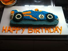 Chocolate racing car cake