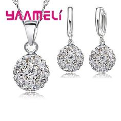 2cee0ee99 YAAMELI Shiny Latest Jewelry Set 925 Sterling Silver Austrian Crystal Pave  Disco Ball Lever Back Earring Pendant Necklace Women