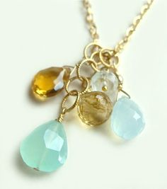 Avalon Charm Necklace with Aqua Chalcedony Citrine & Aquamarine and by Flow Designs Summer Fashion