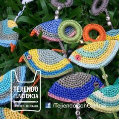 pajaritos de crochet con bolsa plásticas