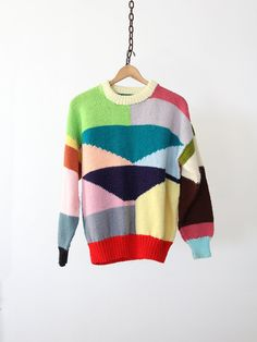 Vintage Sweater / 1980s Colorful Print Sweater by 86Vintage86, $128.00