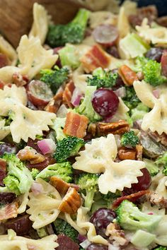 Lighter Broccoli, Grape and Pasta Salad with red onion, pecans and bacon