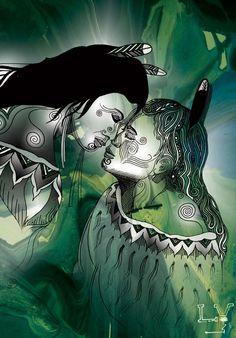 Maori design, black and white, green leafy background - nz focused? Maori Legends, Maori People, Polynesian Art, Maori Designs, New Zealand Art, Nz Art, Maori Art, Kiwiana, Black Artwork