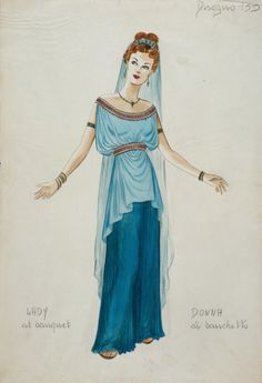 Costume Sketch for the Metro-Goldwyn-Mayer Production, 'Quo Vadis' Herschel McCoy United States, 1951 Drawings Ancient Greek Dress, Ancient Greek Clothing, Ancient Greek Costumes, Theatre Costumes, Movie Costumes, Ballet Costumes, Toga Romana, Greece Costume, Greece Dress