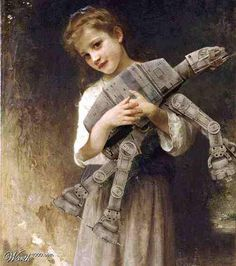 Classic art of girl holding her young AT-AT
