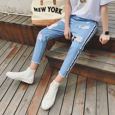 2017 Summer New Fashion Man Holes Side Jeans men baggy Black Color Casual Trousers hot sell